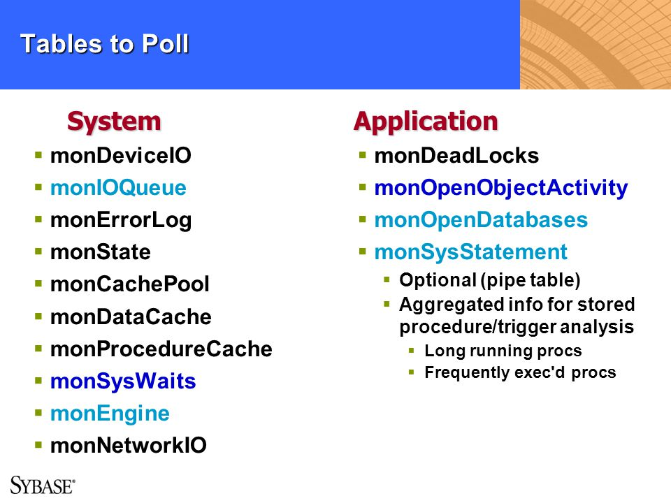 Tables to Poll System Application monDeviceIO monIOQueue monErrorLog