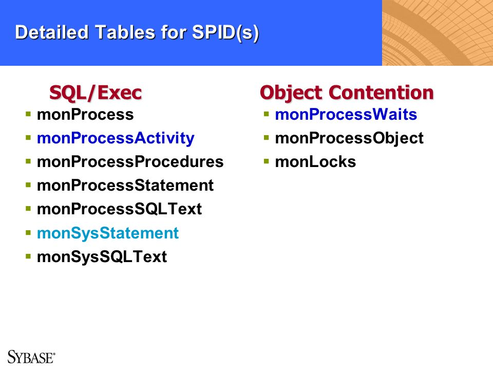 Detailed Tables for SPID(s)