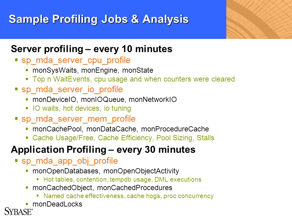 Sample Profiling Jobs & Analysis