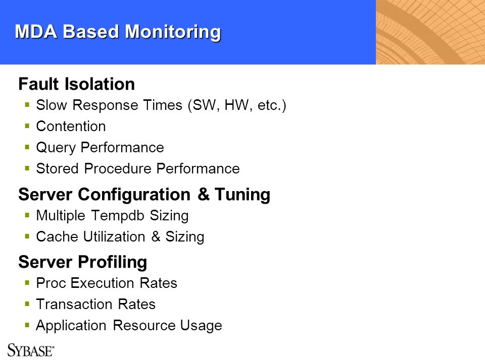 MDA Based Monitoring Fault Isolation Server Configuration & Tuning