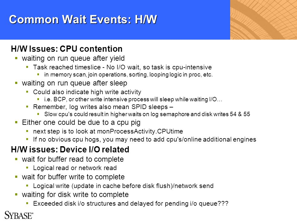 Common Wait Events: H/W