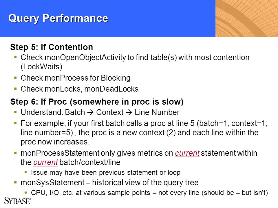 Query Performance Step 5: If Contention