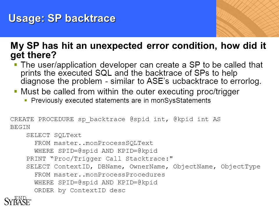 Usage: SP backtrace My SP has hit an unexpected error condition, how did it get there