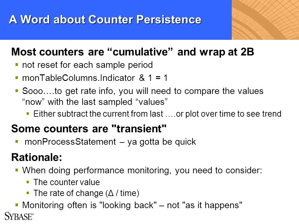 A Word about Counter Persistence