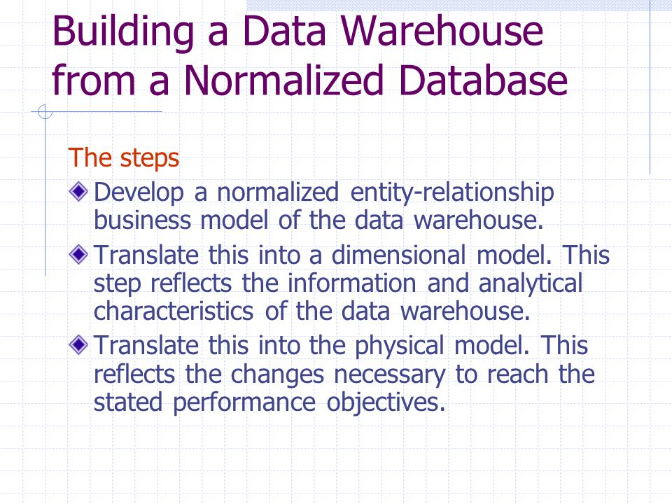 Building a Data Warehouse from a Normalized Database