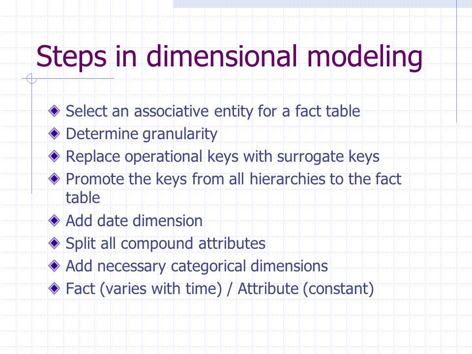 Steps in dimensional modeling