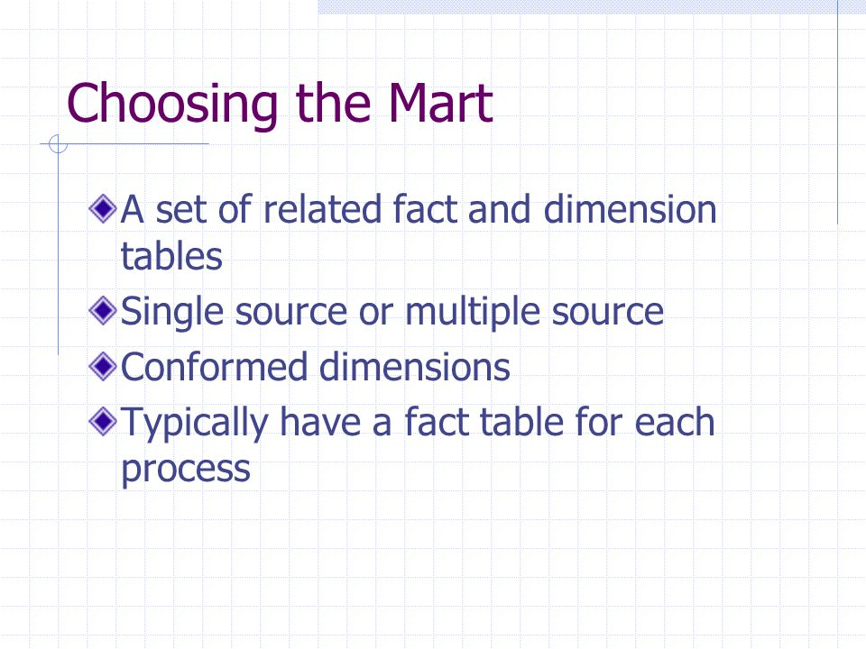 Choosing the Mart A set of related fact and dimension tables