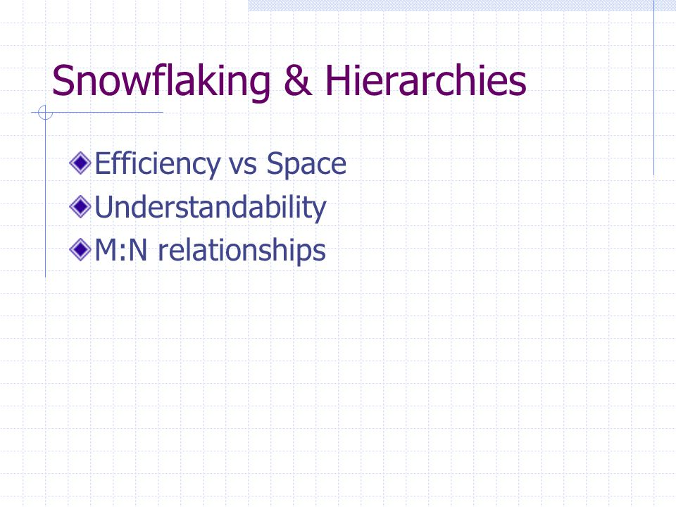 Snowflaking & Hierarchies