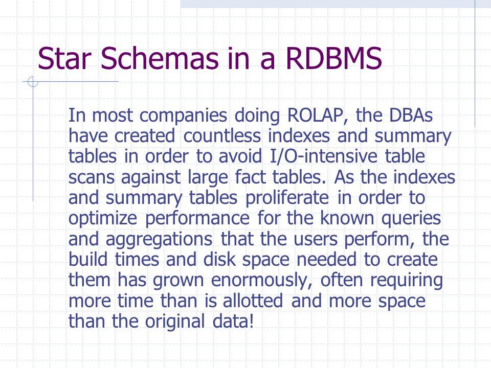 Star Schemas in a RDBMS