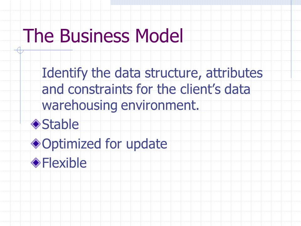 The Business Model Identify the data structure, attributes and constraints for the client's data warehousing environment.