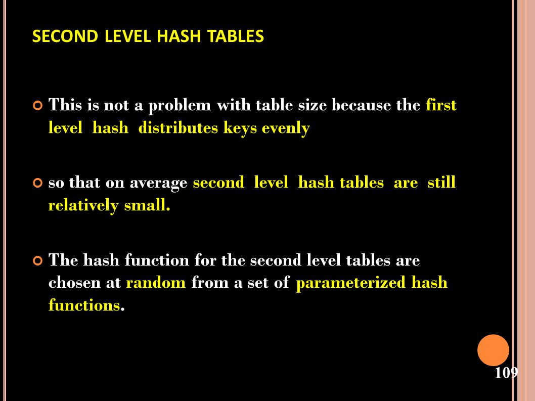 second level hash tables