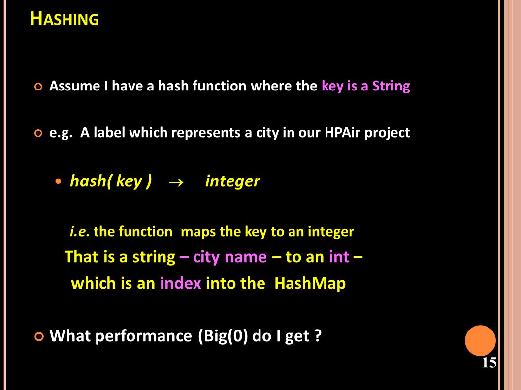 Hashing hash( key ) ® integer which is an index into the HashMap