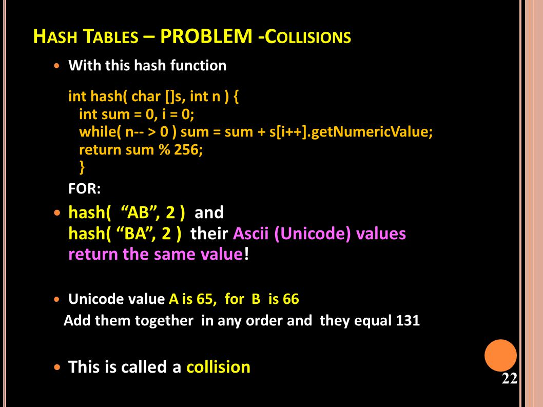 Hash Tables – PROBLEM -Collisions