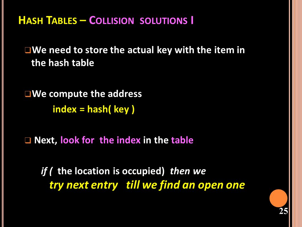 Hash Tables – Collision solutions I