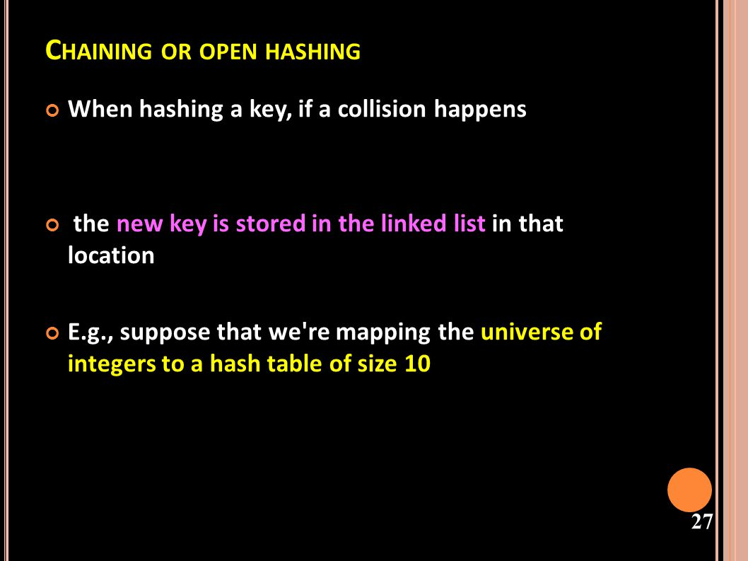 Chaining or open hashing
