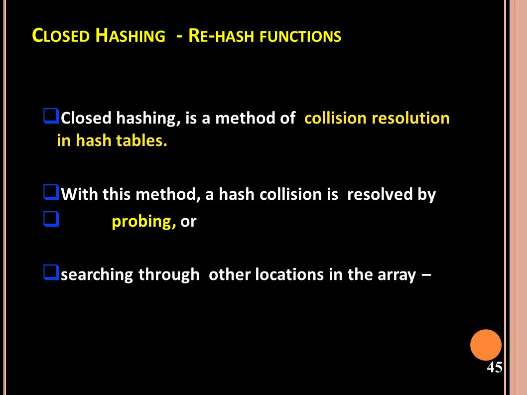 Closed Hashing - Re-hash functions