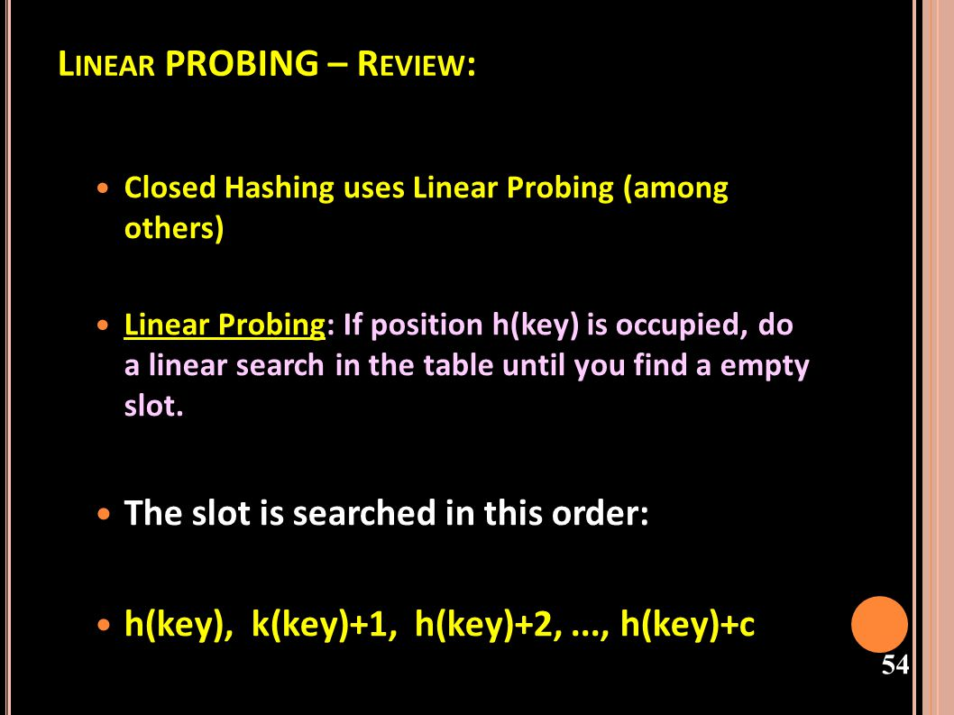 Linear PROBING – Review: