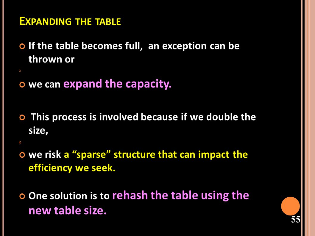 Expanding the table If the table becomes full, an exception can be thrown or. we can expand the capacity.