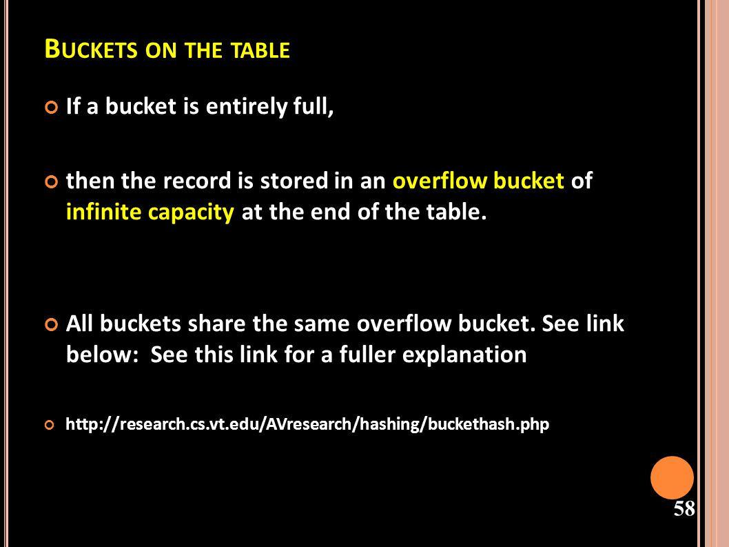 Buckets on the table If a bucket is entirely full,