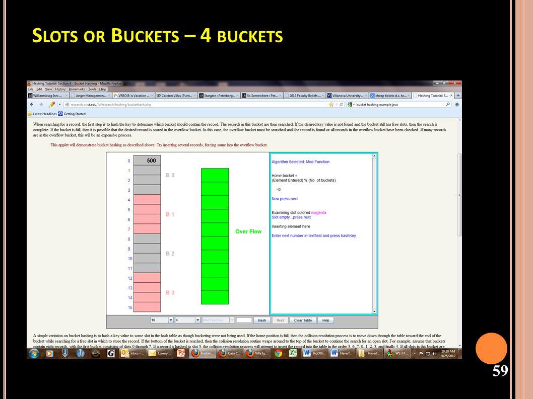 Slots or Buckets – 4 buckets