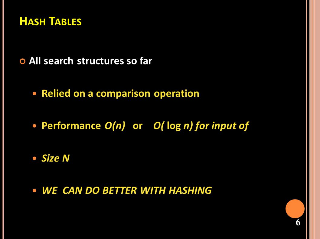 Hash Tables All search structures so far