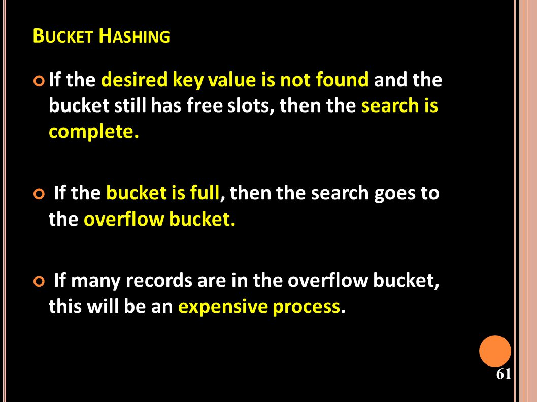 Bucket Hashing If the desired key value is not found and the bucket still has free slots, then the search is complete.
