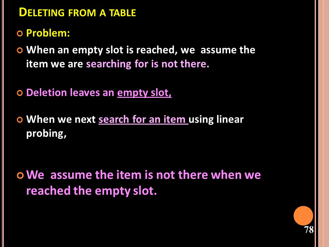 Deleting from a table Problem: When an empty slot is reached, we assume the item we are searching for is not there.