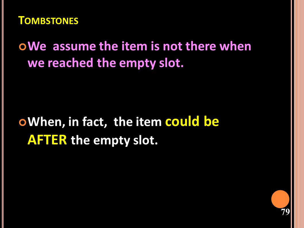 We assume the item is not there when we reached the empty slot.