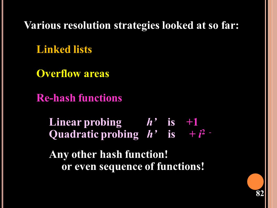 Various resolution strategies looked at so far: