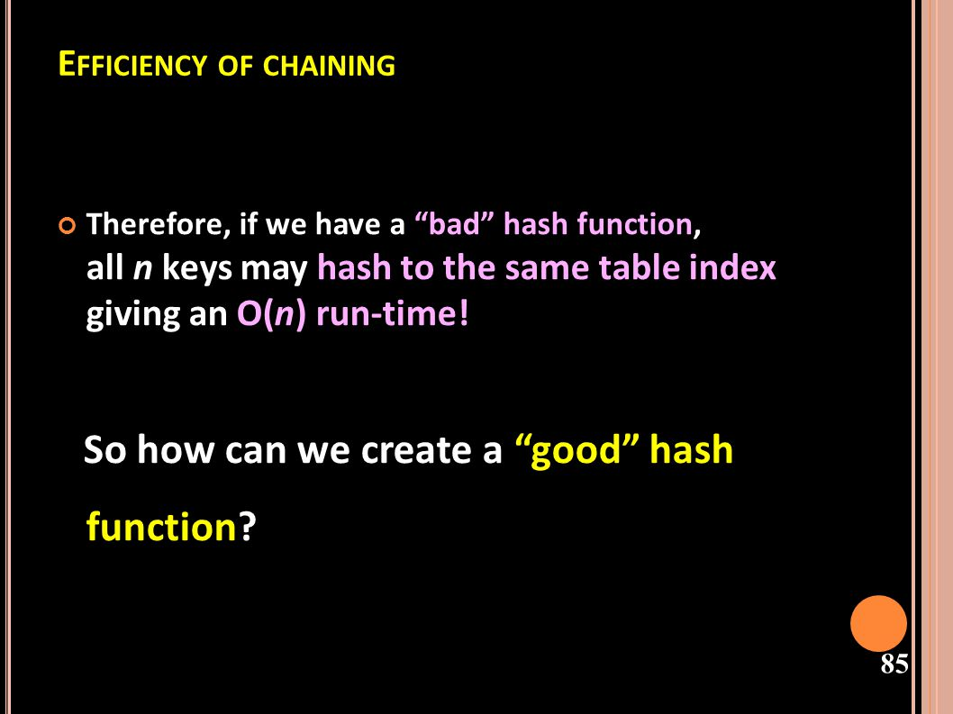 Efficiency of chaining
