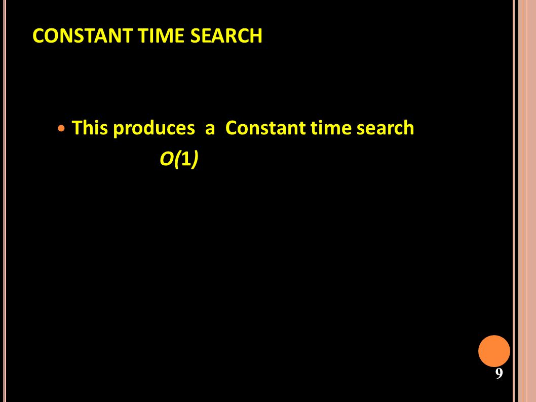 CONSTANT TIME SEARCH This produces a Constant time search O(1)