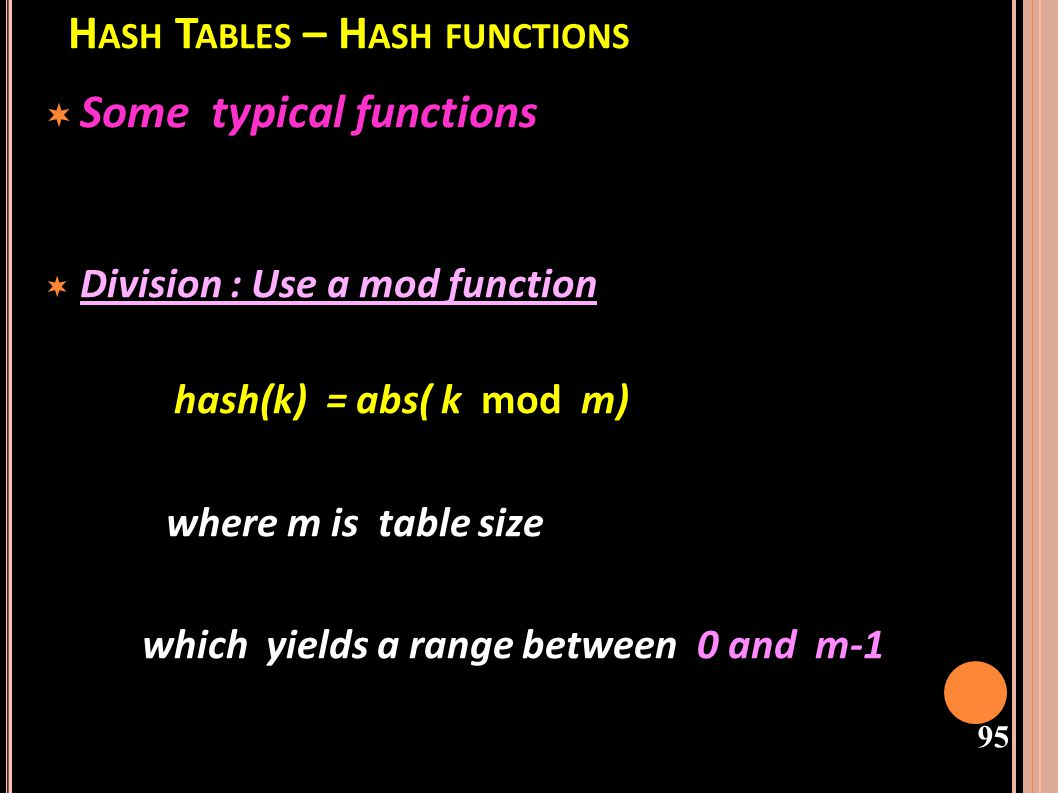 Hash Tables – Hash functions