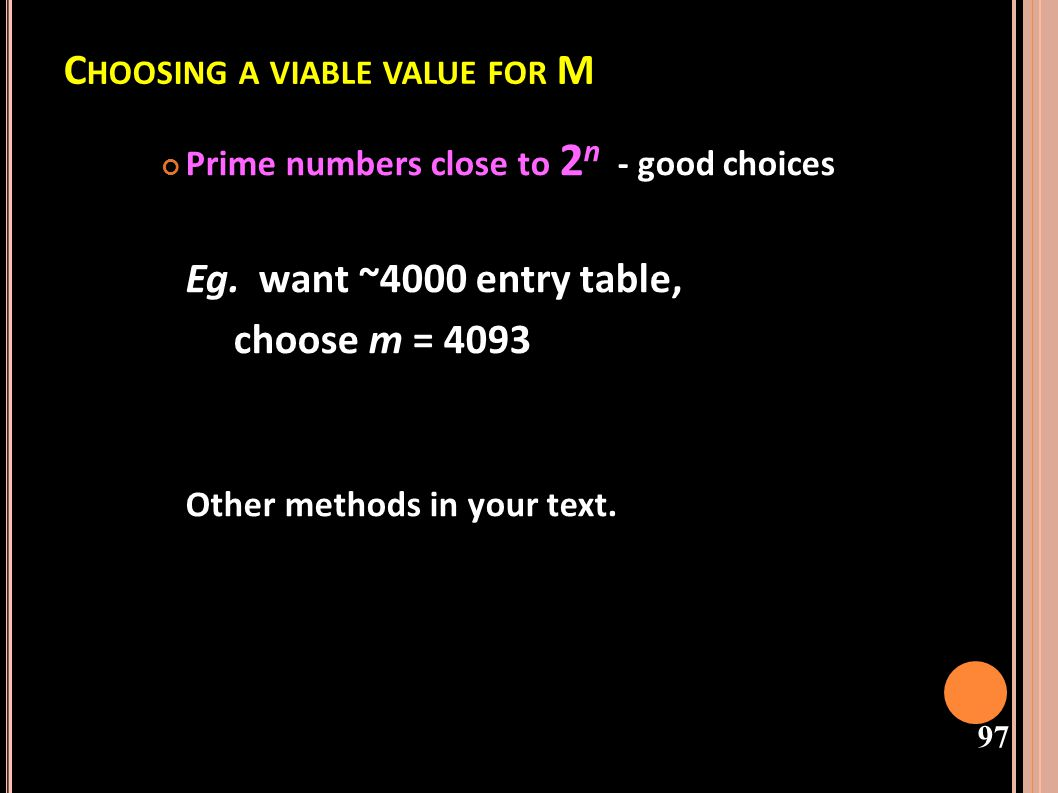 Choosing a viable value for M