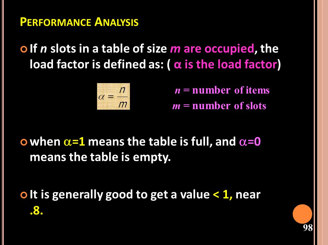 Performance Analysis If n slots in a table of size m are occupied, the load factor is defined as: ( α is the load factor)