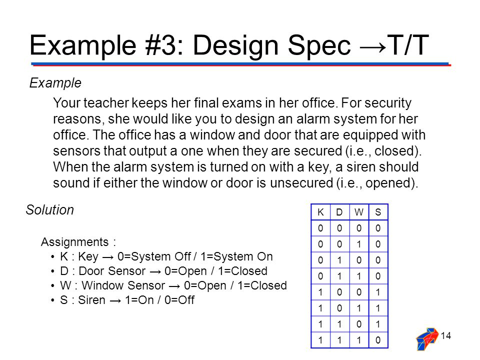 Example #3: Design Spec →T/T