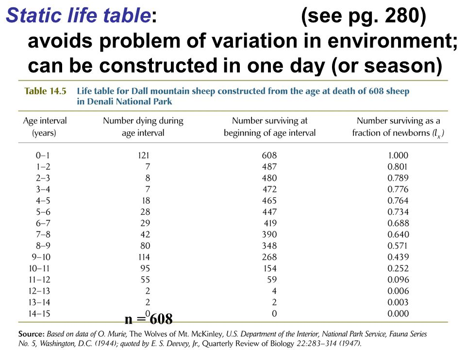 Static life table: (see pg