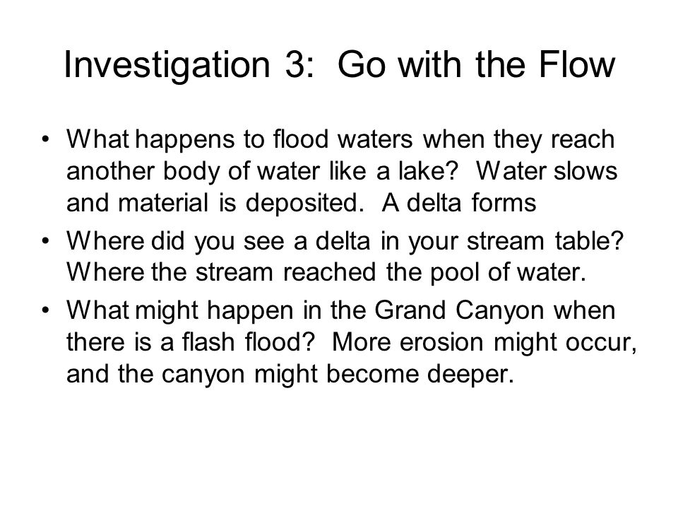 Investigation 3: Go with the Flow