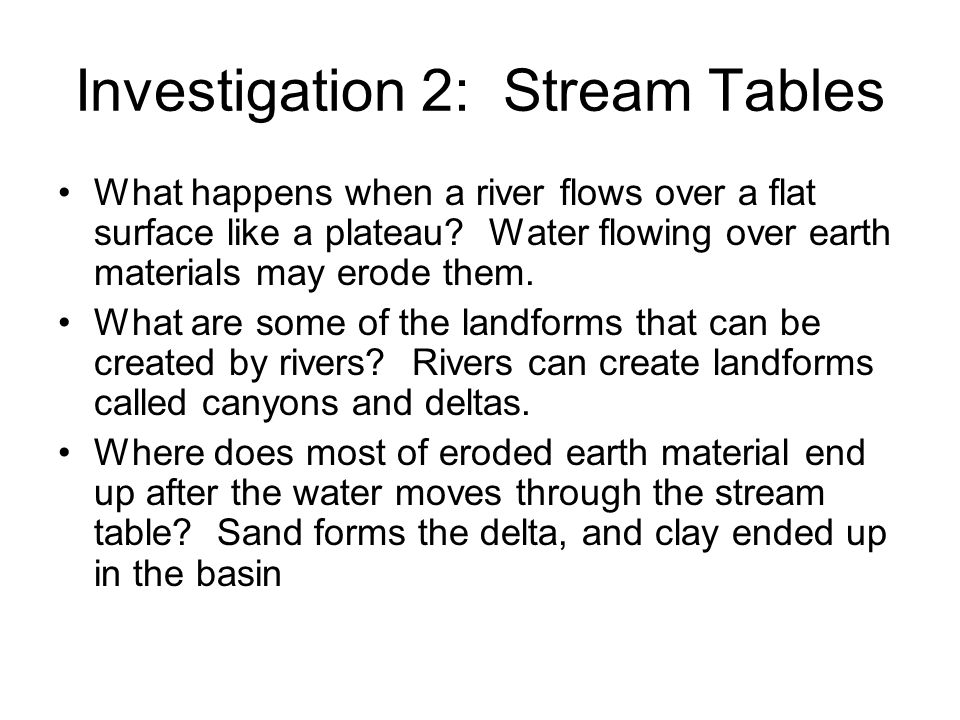 Investigation 2: Stream Tables