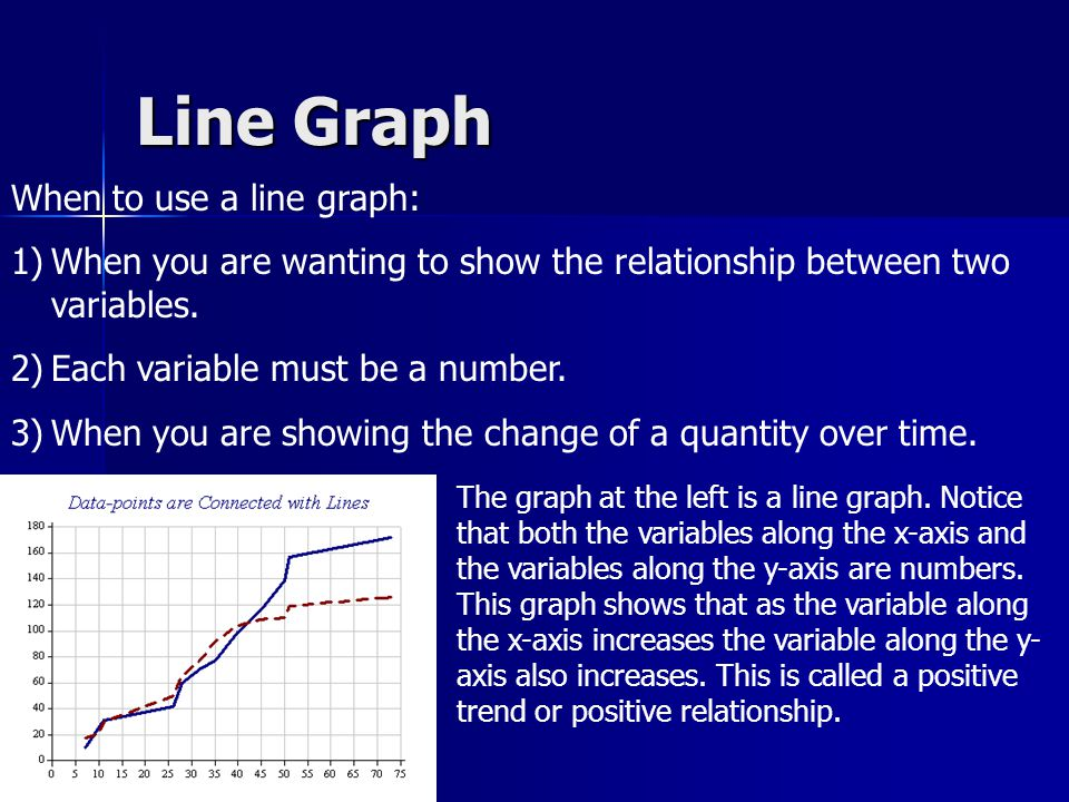 Line Graph When to use a line graph: