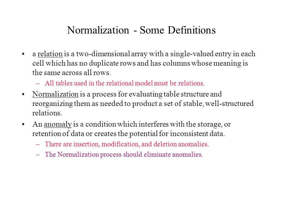 Normalization - Some Definitions