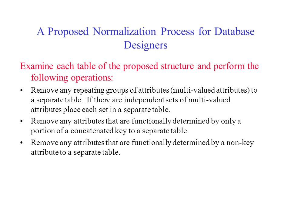 A Proposed Normalization Process for Database Designers