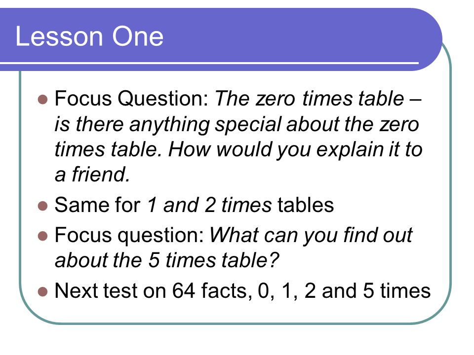 Lesson One Focus Question: The zero times table – is there anything special about the zero times table. How would you explain it to a friend.