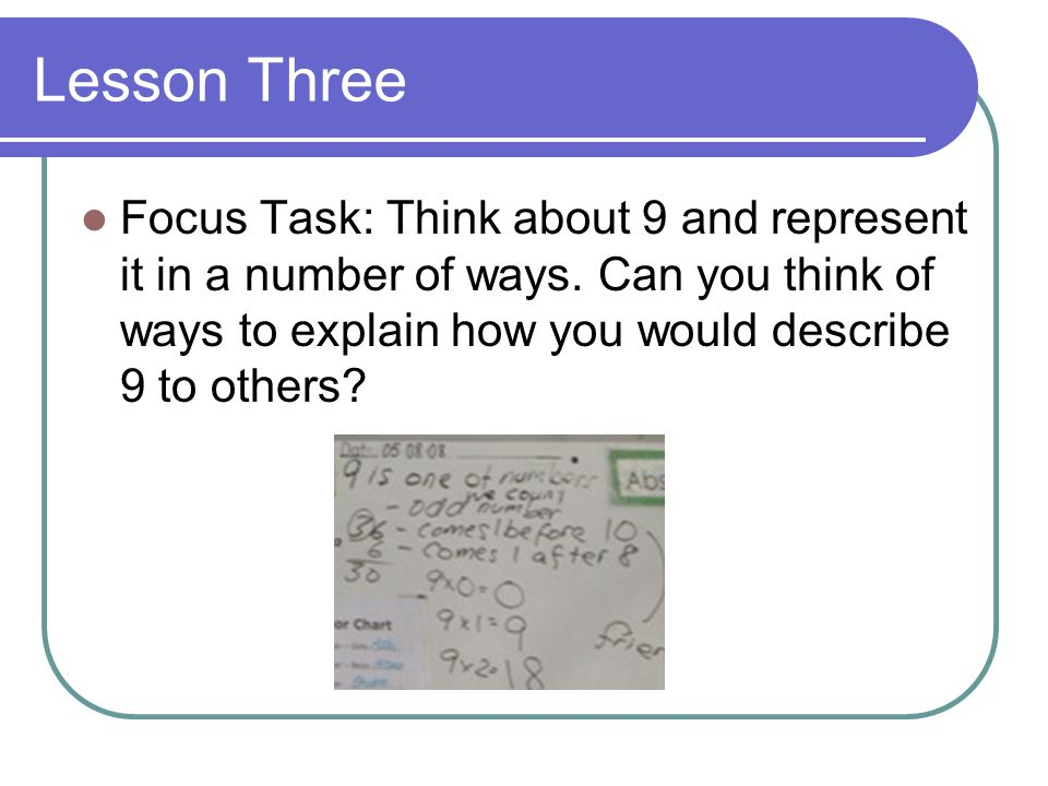 Lesson Three Focus Task: Think about 9 and represent it in a number of ways.