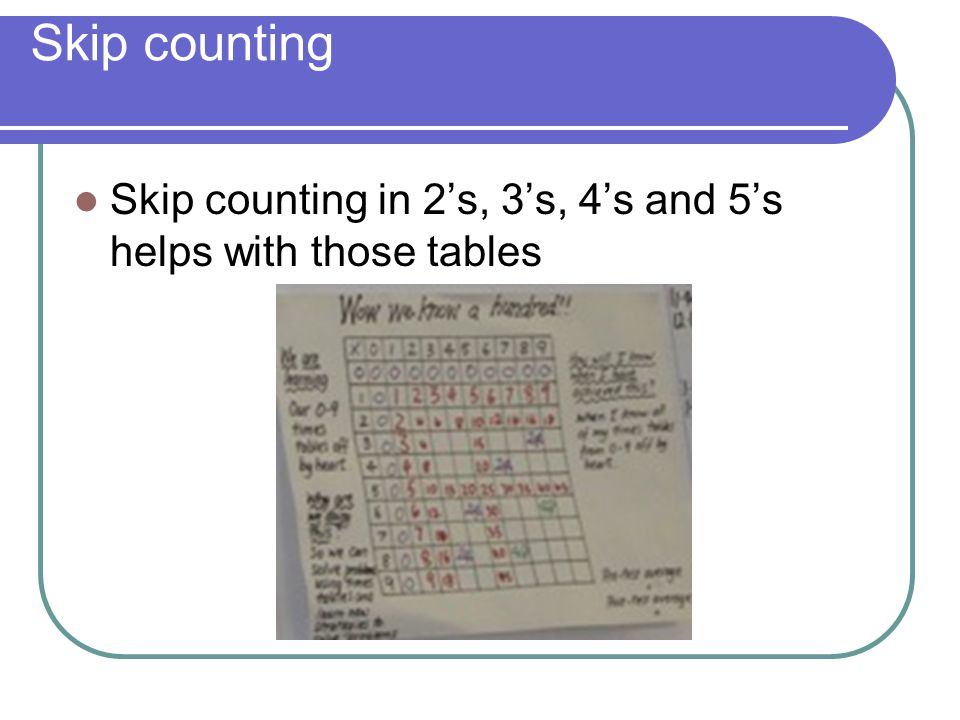 Skip counting Skip counting in 2's, 3's, 4's and 5's helps with those tables