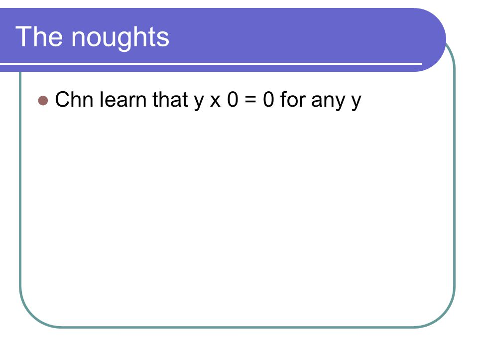 The noughts Chn learn that y x 0 = 0 for any y