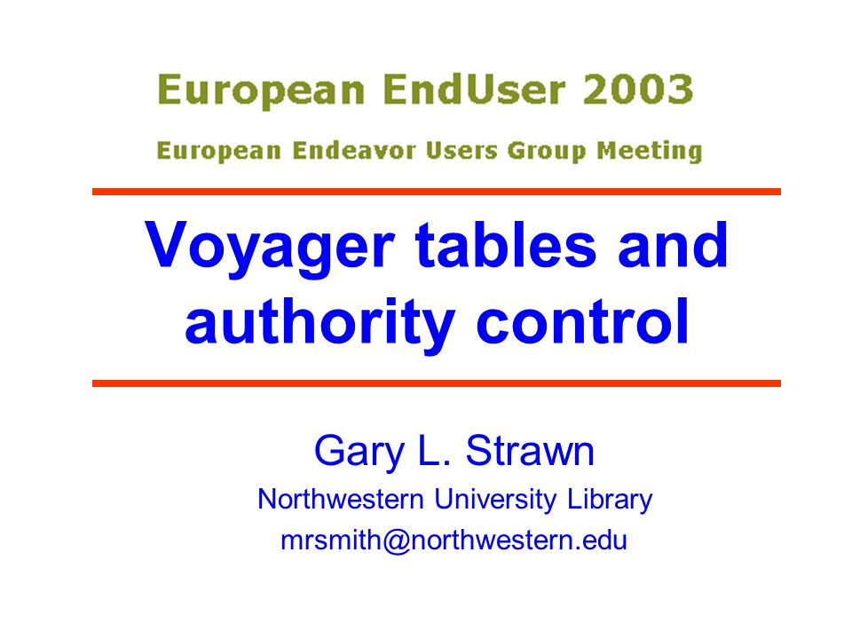 Voyager tables and authority control