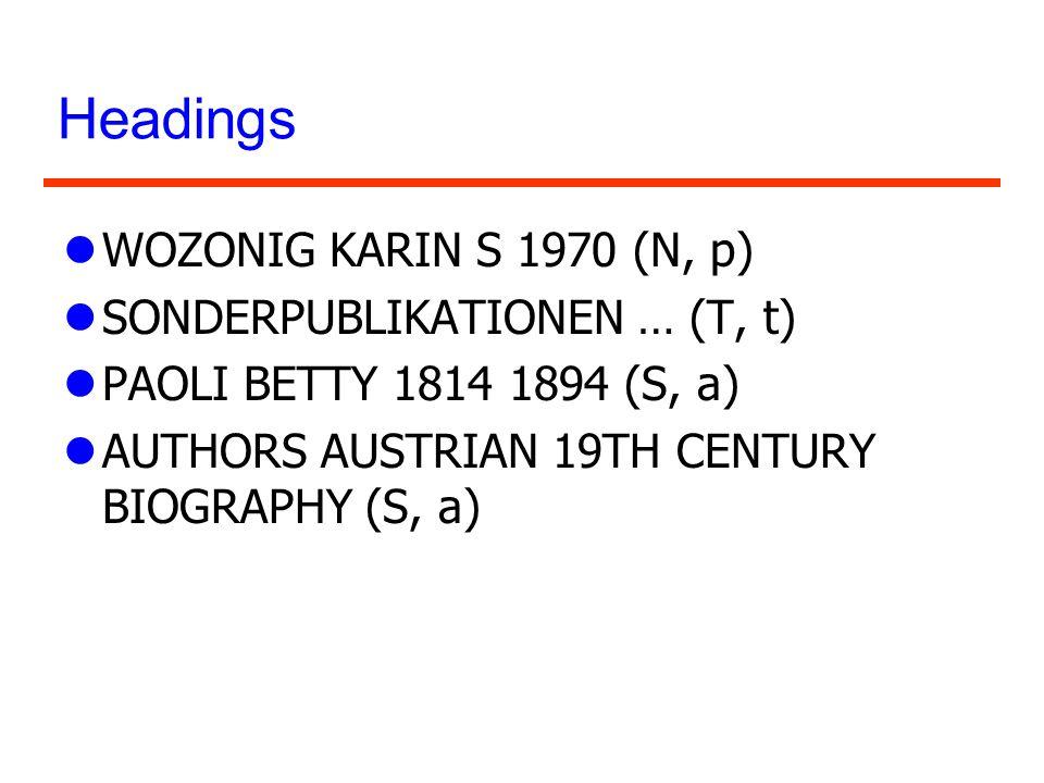 Headings WOZONIG KARIN S 1970 (N, p) SONDERPUBLIKATIONEN … (T, t)