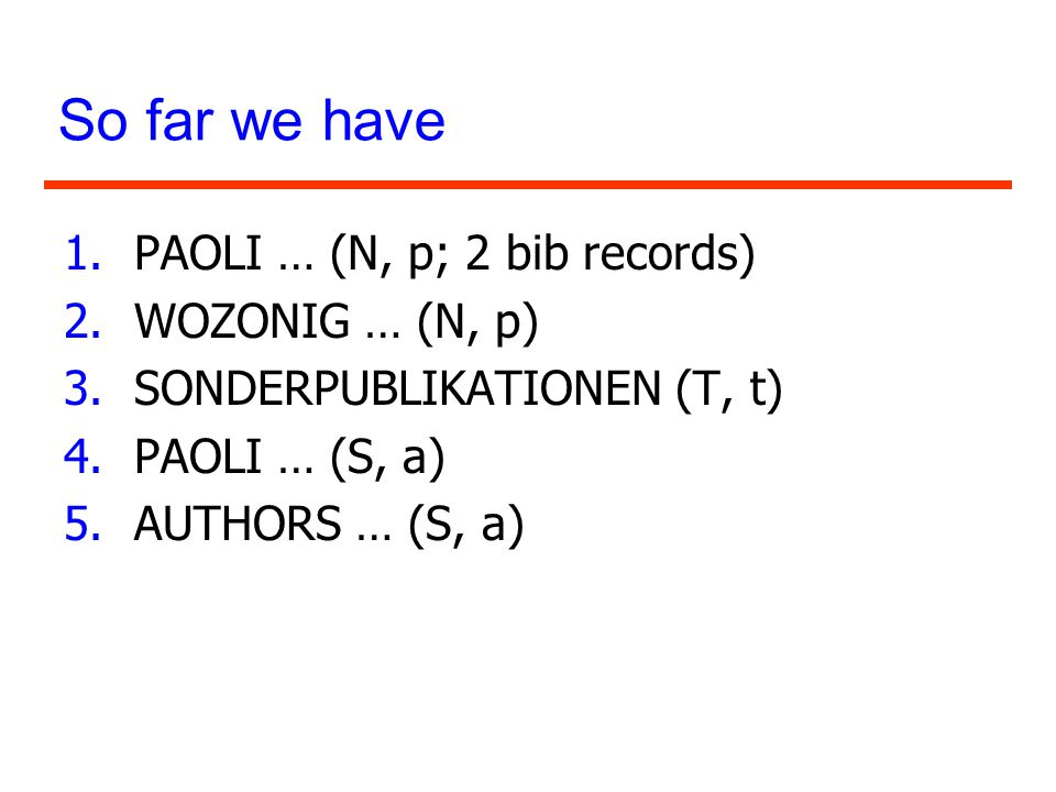 So far we have PAOLI … (N, p; 2 bib records) WOZONIG … (N, p)