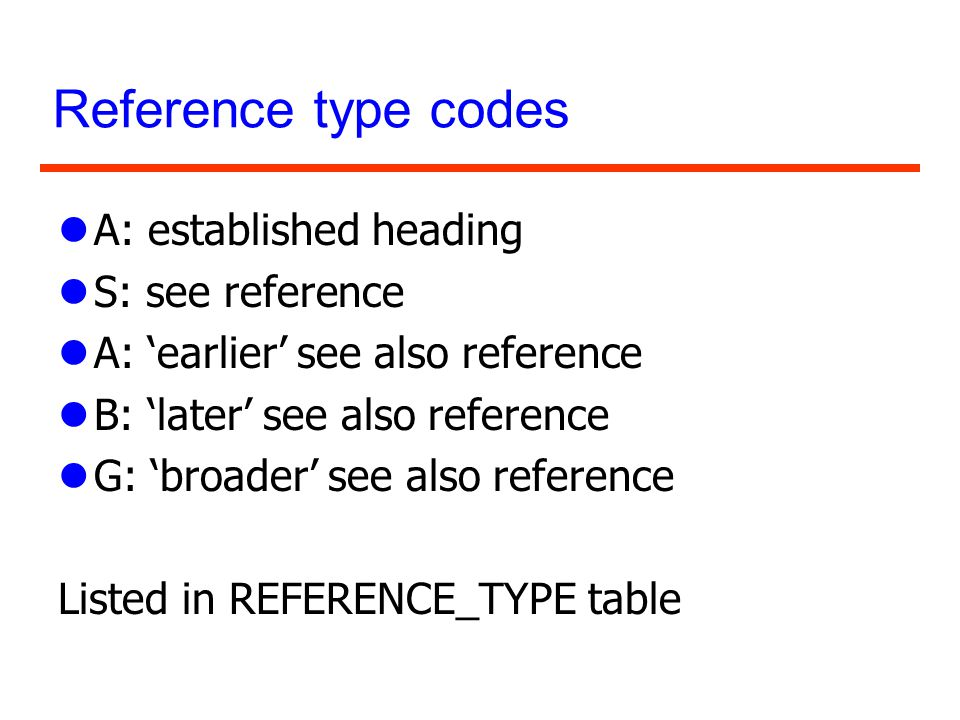 Reference type codes A: established heading S: see reference