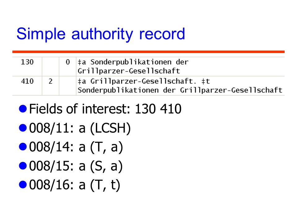 Simple authority record